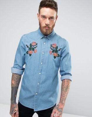 Blue Floral Embroidered Denim Jacket 540832544 100% Cotton. Button front  fastening Simple long sleeves