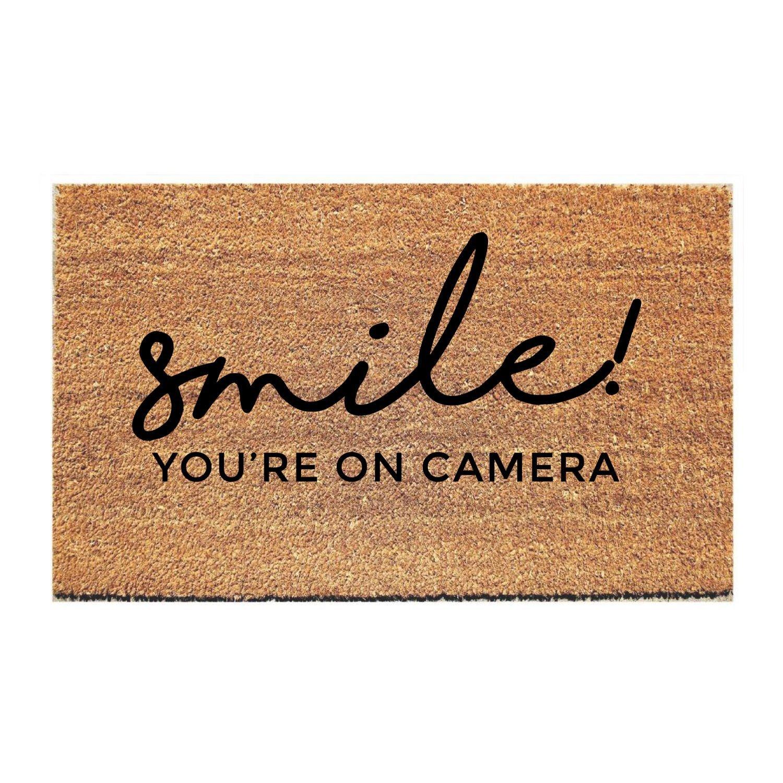 Smile You Re On Camera Doormat Door Mat Funny Doormats Carpet Runner