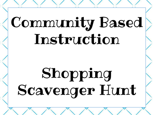 Shopping Scavenger Hunt Task Cards For Community Based Instruction