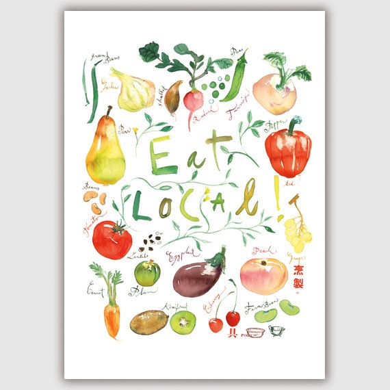 Beautiful Kitchen Decor Eat Local Poster Food Print Por Lucileskitchen