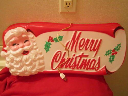 1950 S Blow Mold Santa Merry Christmas Sign Original Box Kay Dee Plastics Works Ebay Merry Christmas Vintage Vintage Christmas Merry Christmas Sign