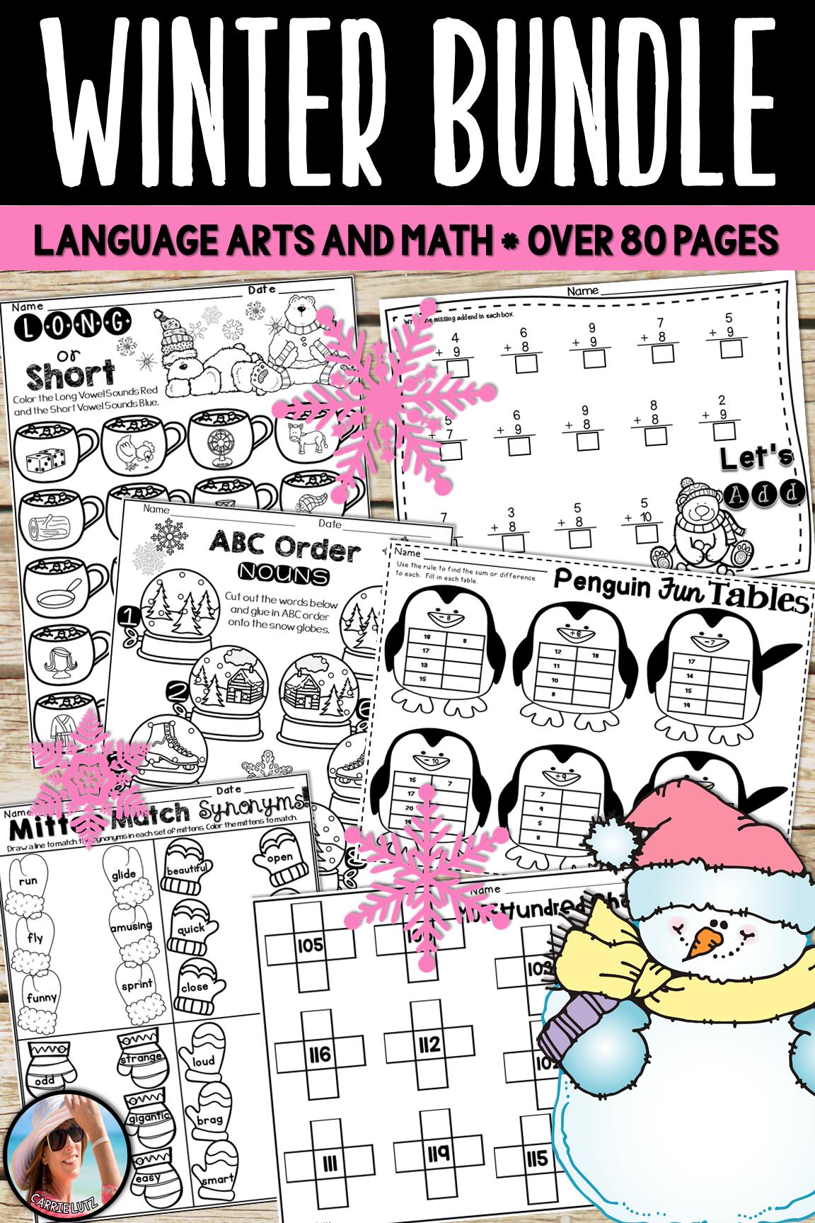 Winter Worksheets Bundle Math And Language Arts