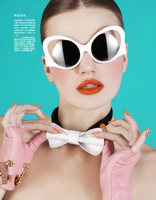 Milou Sluis by Oskar Cecere for Marie Claire China April 2013 - Eyeshadow Lipstick