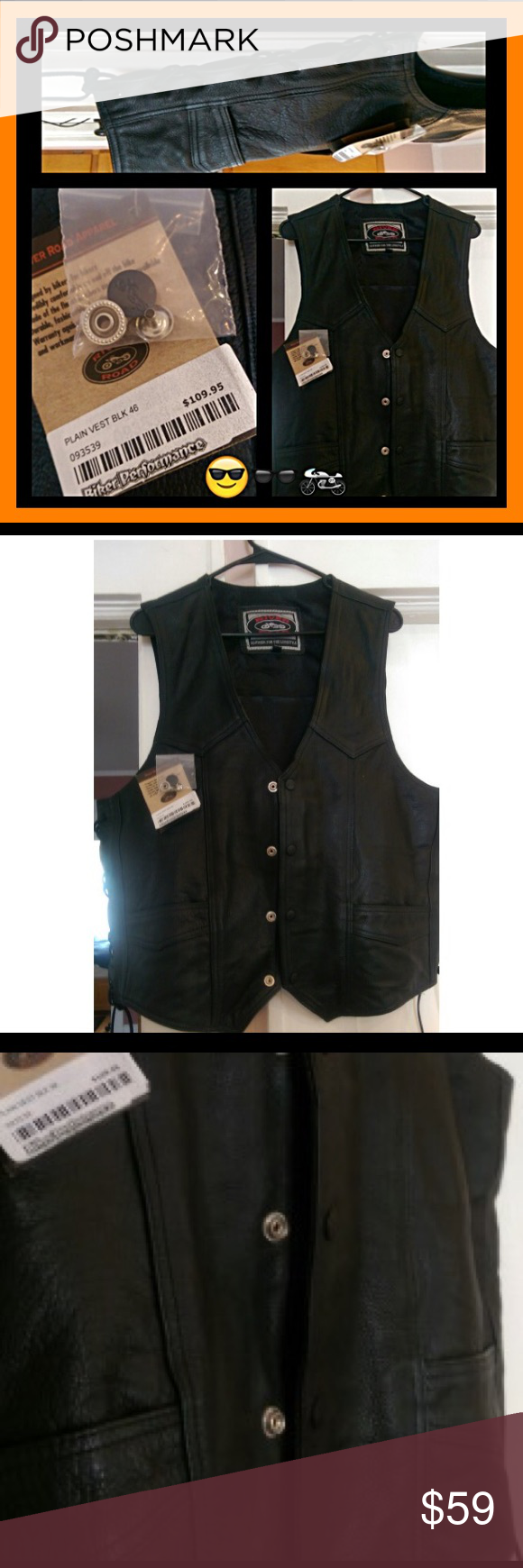 "LEATHER RIDING VEST😎🏍""BRAND NEW WITH TAGS""❤️🕶 (NOT HARLEY DAVIDSON BRAND)""NWT"" RIVERROAD BLACK LEATHER MOTORCYCLE VEST😎FOR BOTH ON & OFF THE BIKE. QUALITY MADE👍🏻FOR PROTECTION& GOOD LOOKS. FRONT SNAP CLOSURE & REALLY COOL..STYLISH TIE UP SIDES THAT ADJUST TO GIVE A PERFECT FIT OR LEAVE LOOSE IF WEARING A HEAVY SWEATER, HOODIE UNDERNEATH😘FITS A MEN SIZE LARGE AND ALSO A WOMENS LARGE/XL. RECENT PURCHASE ON VACAY THINKIN I FORGOT TO PACK MY OLD ONE WHICH WAS IN MY LUGGAGE ALL…"
