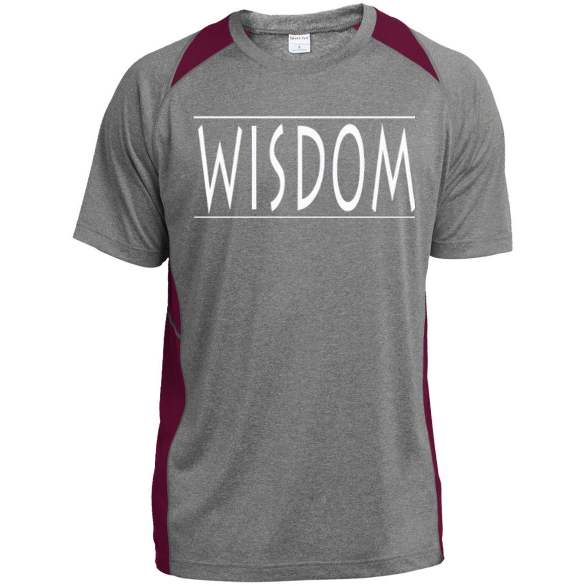 Wisdom /Custom Printed Heather Colorblock Poly T-shirt