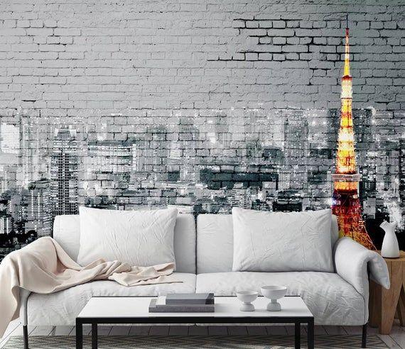 Black and White City Wallpaper Paris Tower Brick Wall