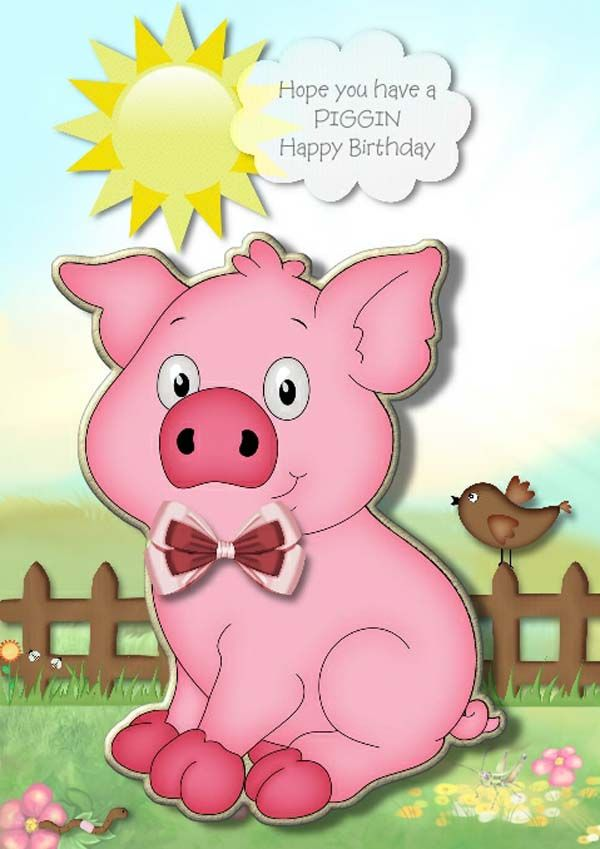 Pig happy birthday cards pig day cards pinterest happy pig happy birthday cards bookmarktalkfo Image collections