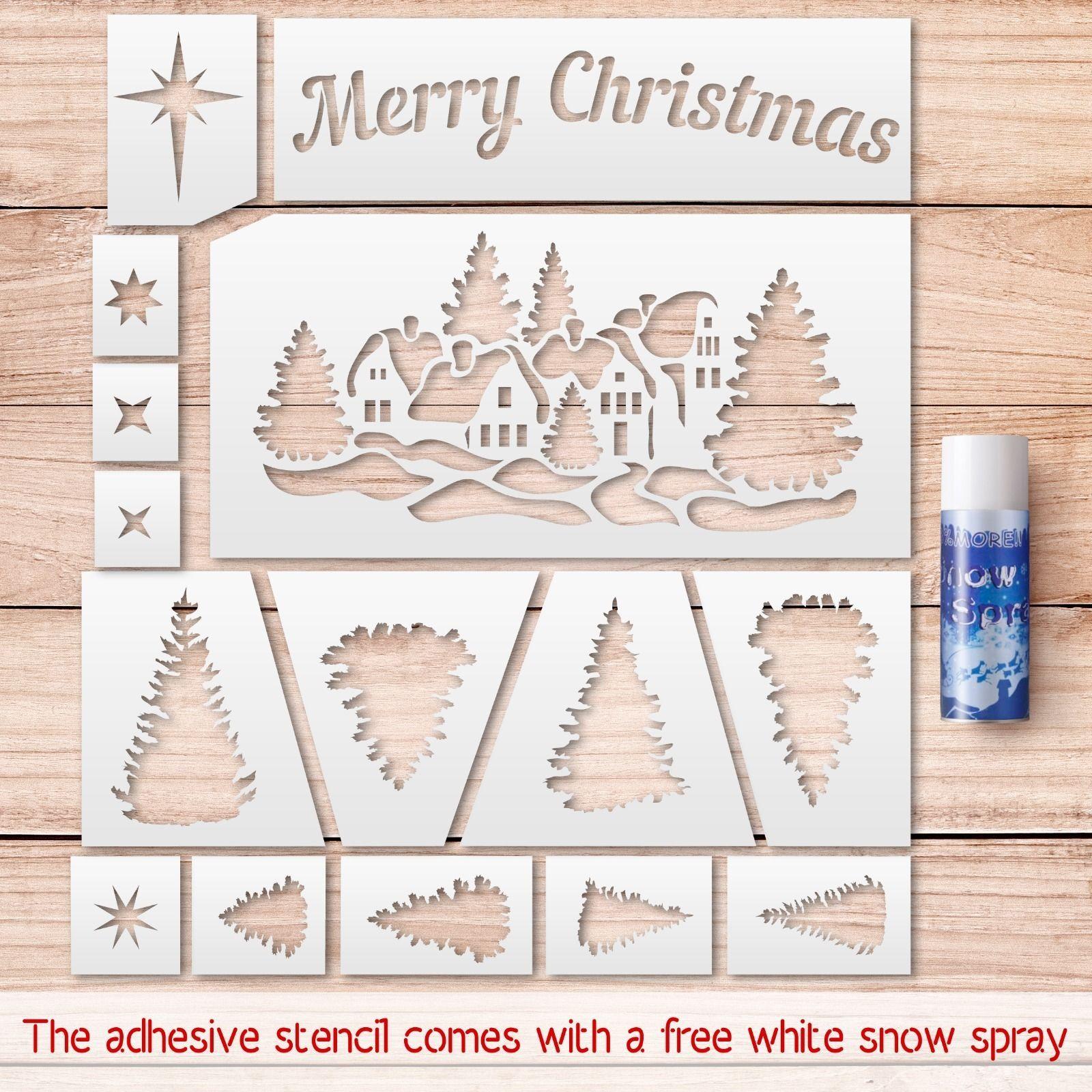 Merry christmas stencils kit stencils for windows decoration free snow spray ebay