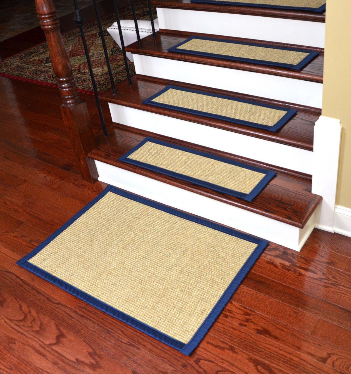 Dean Desert/Navy Blue Non Slip Tape Free Pet Friendly Stair Gripper Natural  Fiber Sisal Carpet Stair Treads   Set Of 15 Plus A Matching X Landing Mat    Dean ...