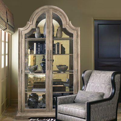 Randalstown Lighted Corner Curio Cabinet Cabinet Oak Display