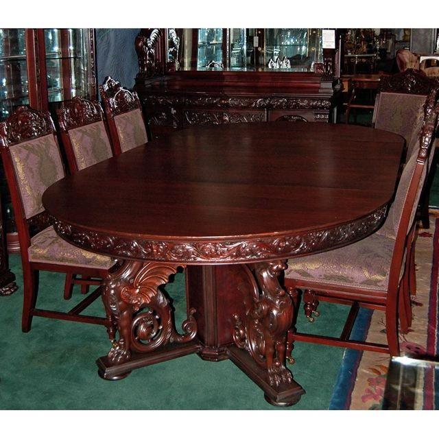 R J Horner 16 Pc Winged Griffin Carved Mahogany Dining Room Set