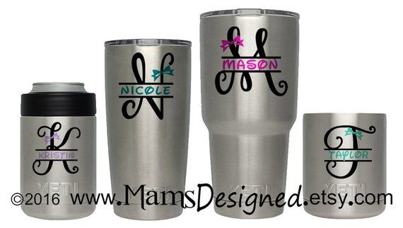 Monogram Bow /& Initials Personalized Vinyl Decal For Tumblers Cups