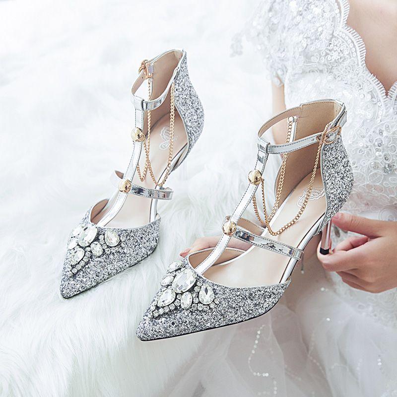 Silver Wedding Polyester Fall Spring Summer Rhinestone Sequins T Strap High Heels Stiletto Heels 8 Cm He Silver Wedding Shoes Stiletto Heels Wedding High Heels