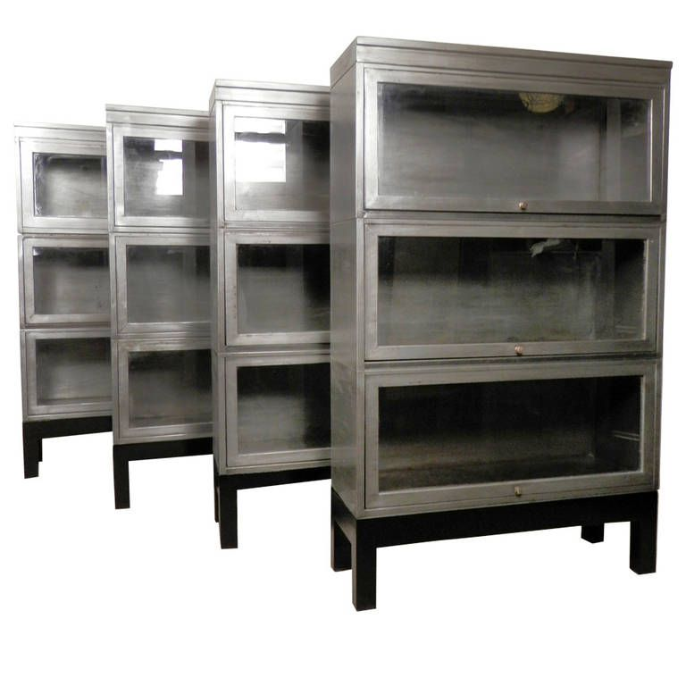 midcentury stack metal barrister bookcase single unit