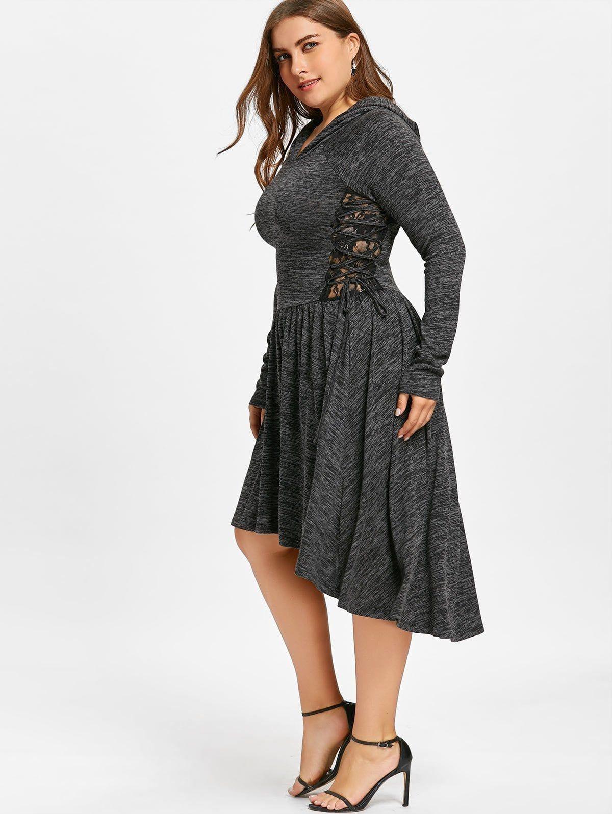 6e6bc3820e3 Plus Size Hooded Lace Up Dip Hem Dress - BLACK 5XL Clothing Sites