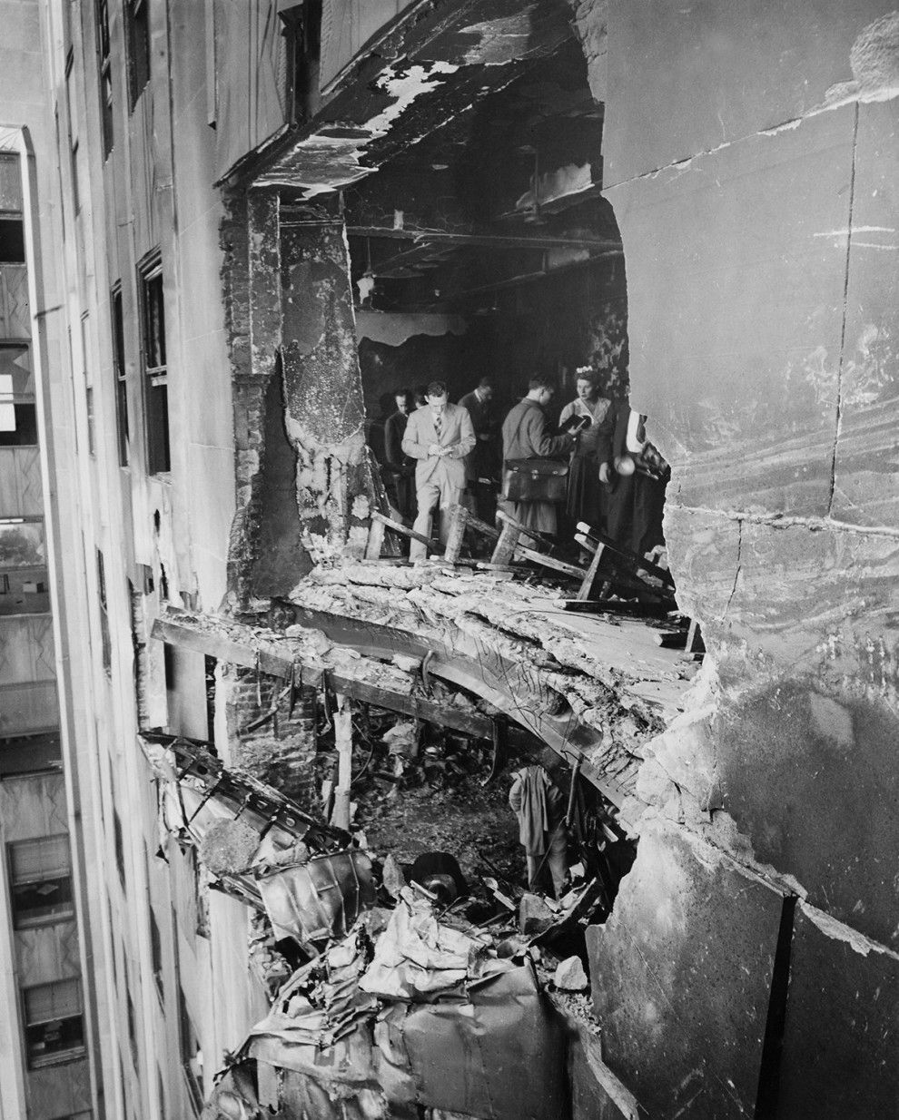 The scorched aftermath of a B-25 bomber crash into the side of the ...