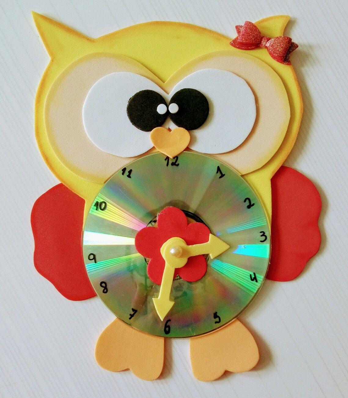 Pin de melina en trabajitos del cole pinterest manualidades con cd y manualidades con cd - Manualidades relojes infantiles ...
