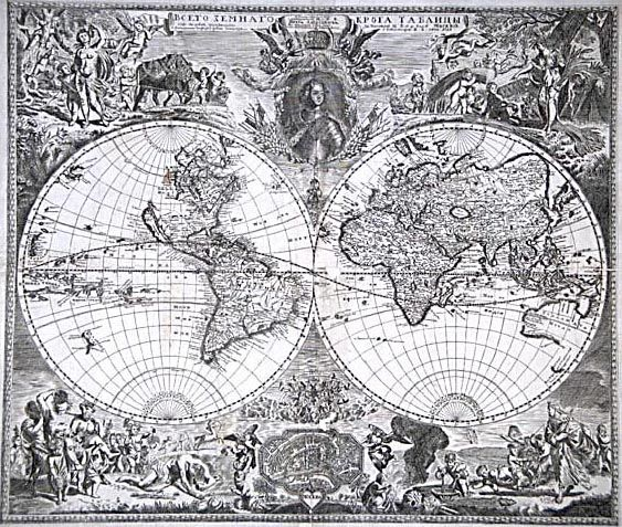 18th Century World Map Published By Vasily Kipriynov At The