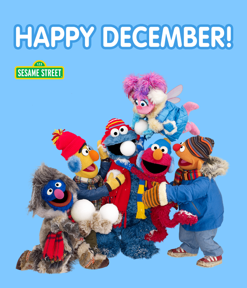 Happy December From Elmo Cookie Monster And Friends It S Getting Cold But The Holidays Are Coming W Sesame Street Sesame Street Muppets Sesame Street Live