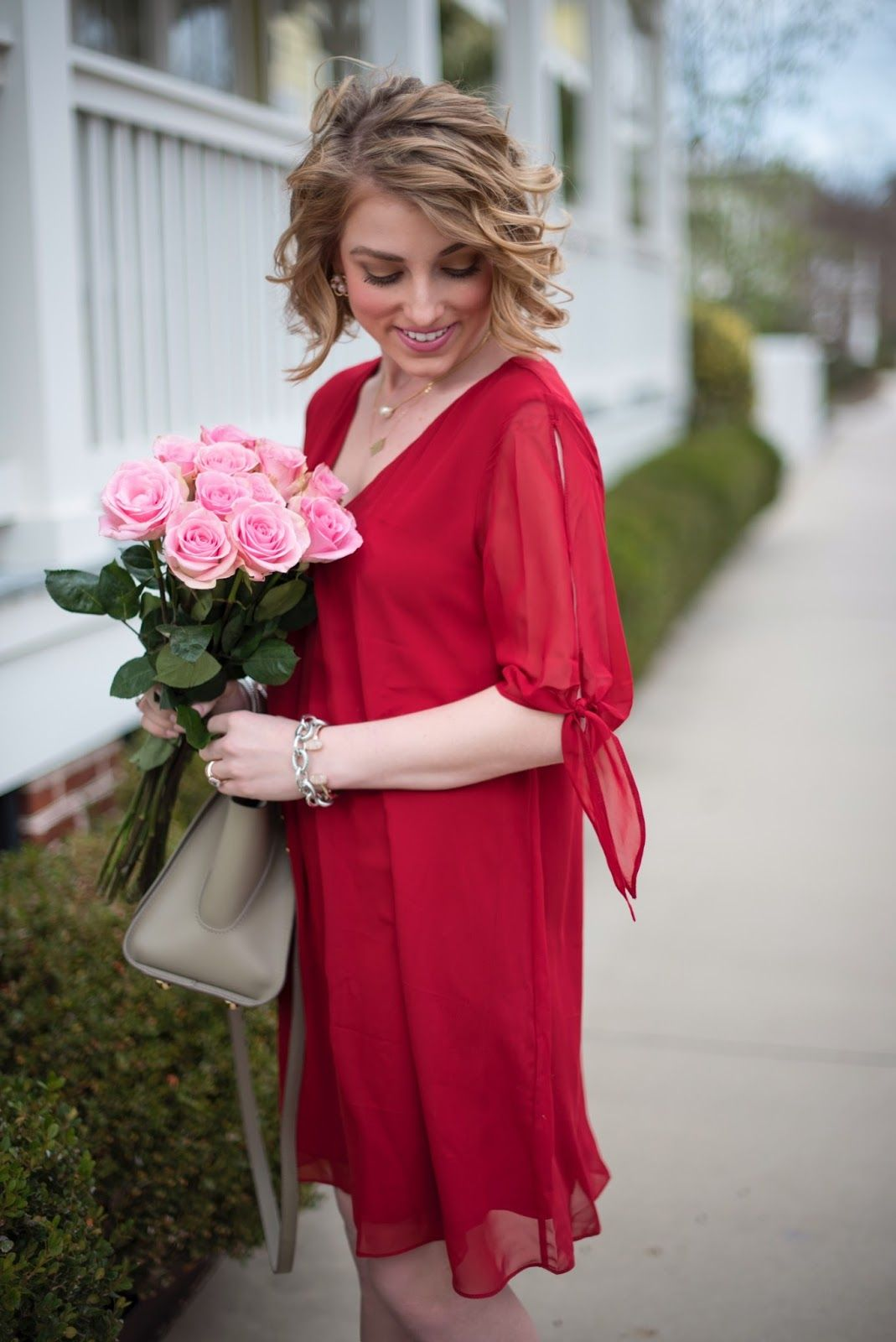 Valentine's Outfit Inspiration in the prettiest red dress - Something Delightful Blog
