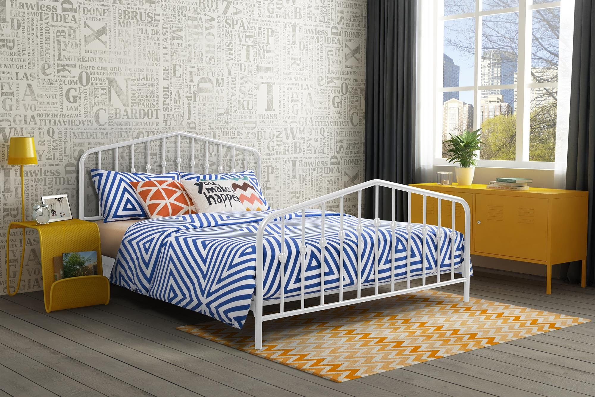Novogratz Bushwick Metal Queen Bed with Stylish Headboard