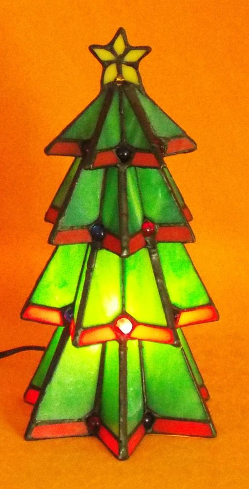 Tiffany Style Stained Glass Christmas Tree Lamp in Original Box