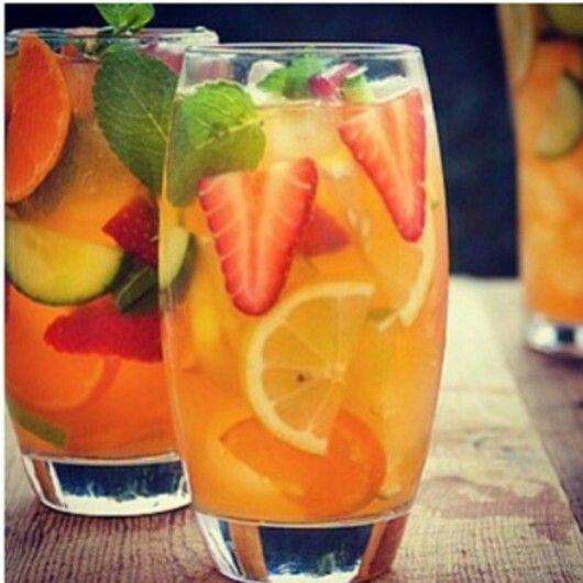 Fruit Infused Water. No Recipe, But Looks Like Lemon