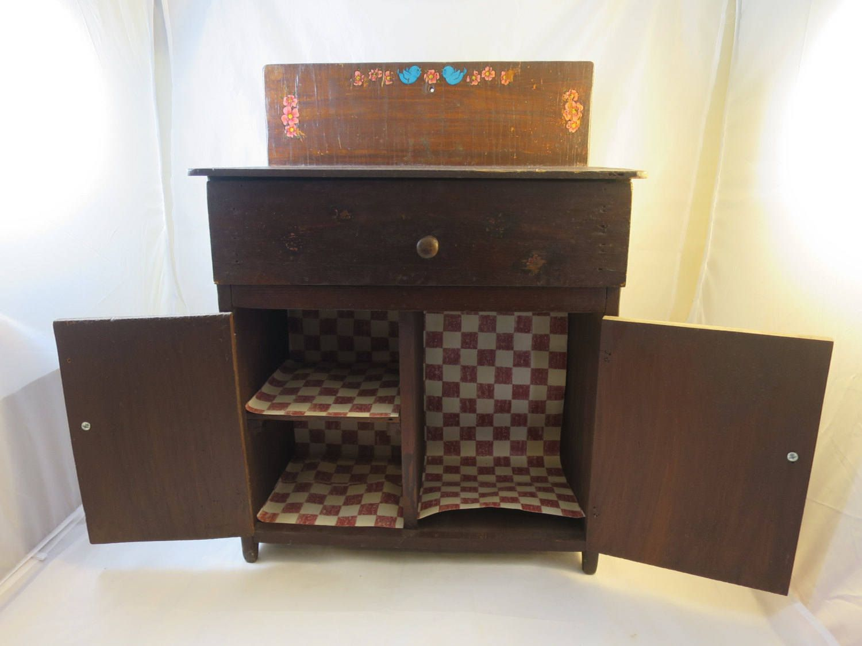 Childs Wood Cabinet Kitchen Cabinet Pretend Play Bluebird Roses Decals 1 Drawer 2 Doors Vintage Toy Kitchen Cabinet 21 X 16 X 8 Inches Wood Cabinets Wood Kitchen Cabinets Play Wood