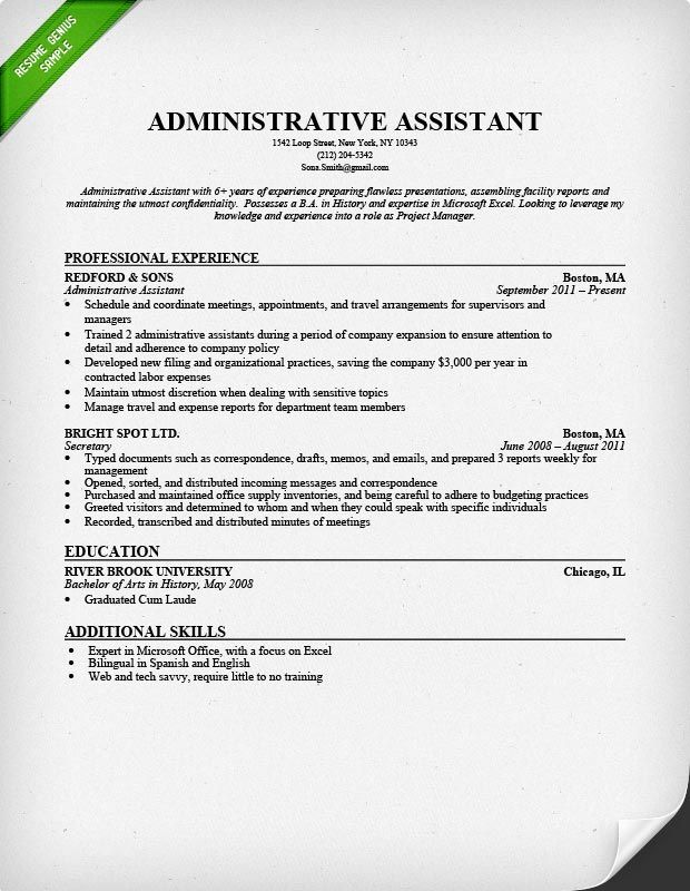 Sample Administrative Assistant Resume Examples Sample