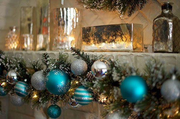 Modern Christmas Mantel Decor Ideas Silver Blue Ornaments