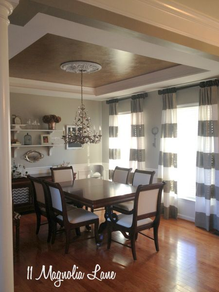 The Gray And White Dining Room At 11 Magnolia Lane Is Finished With Striped Painted Window Treatments In