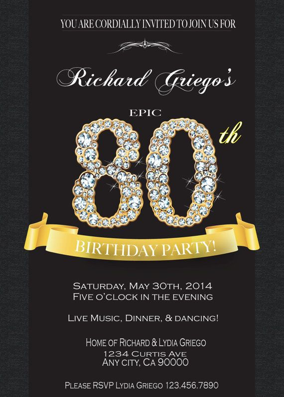 80TH BIRTHDAY INVITATION 80th