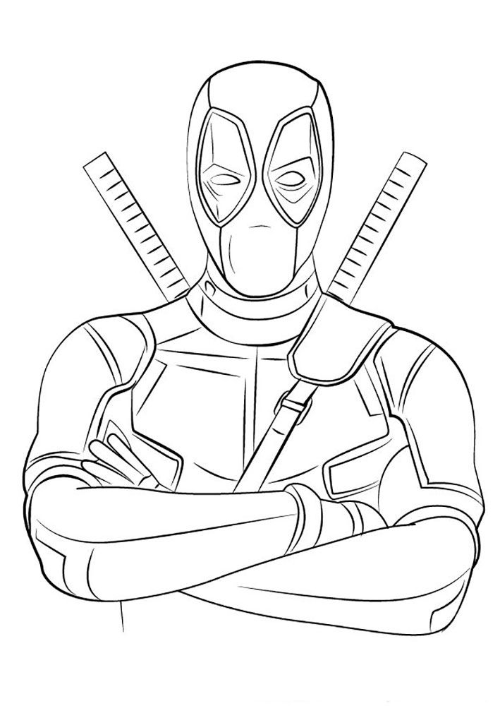Printable Deadpool Coloring Pages Ideas With Simple Costume