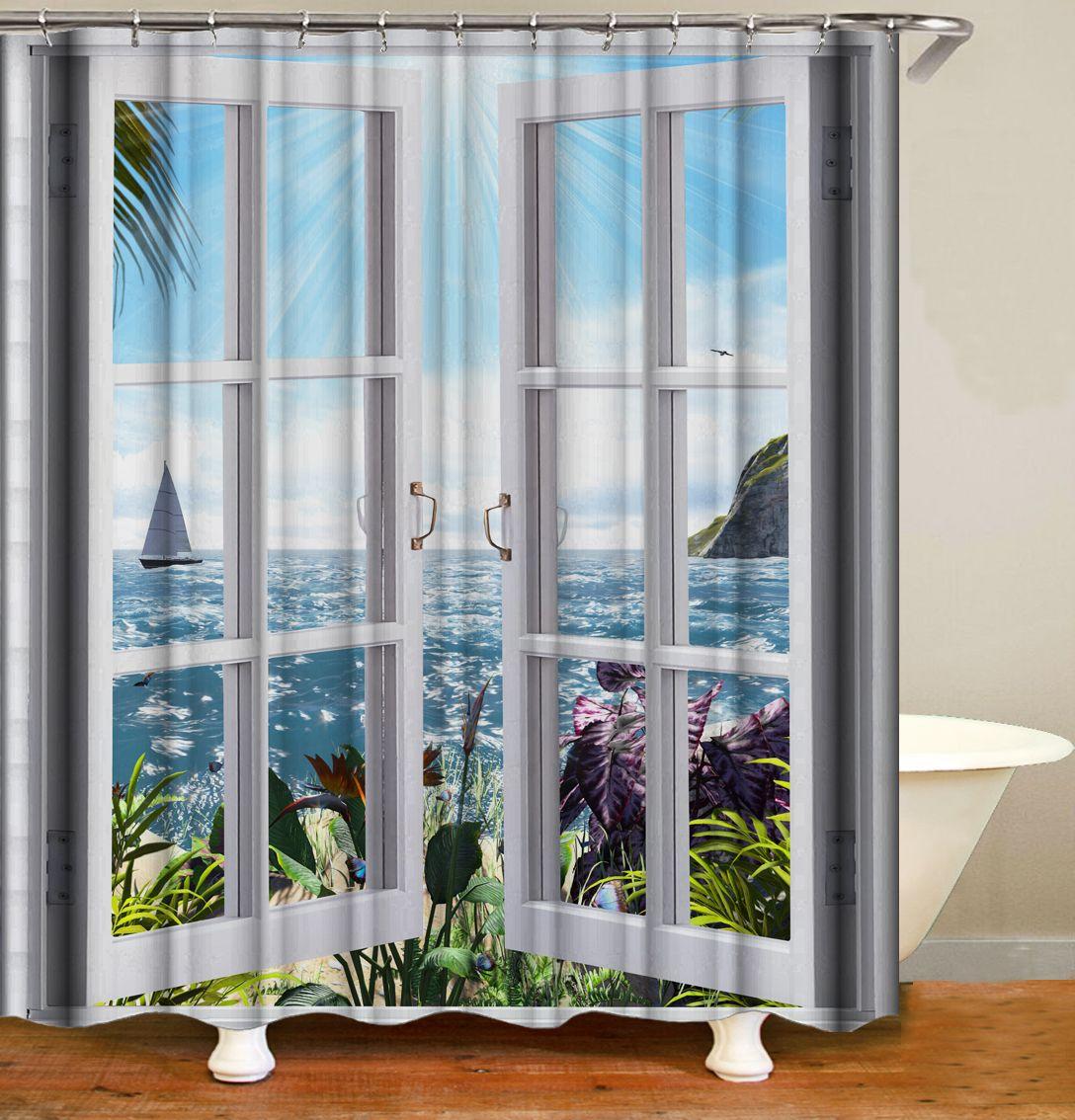 Window Scenery Printing Bathroom Waterproof Shower Curtain