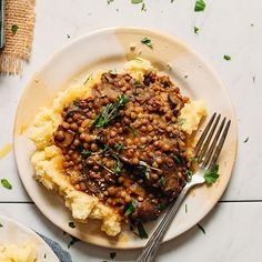 Mushroom Lentil Stew with Mashed Potatoes | Minimalist Baker Recipes