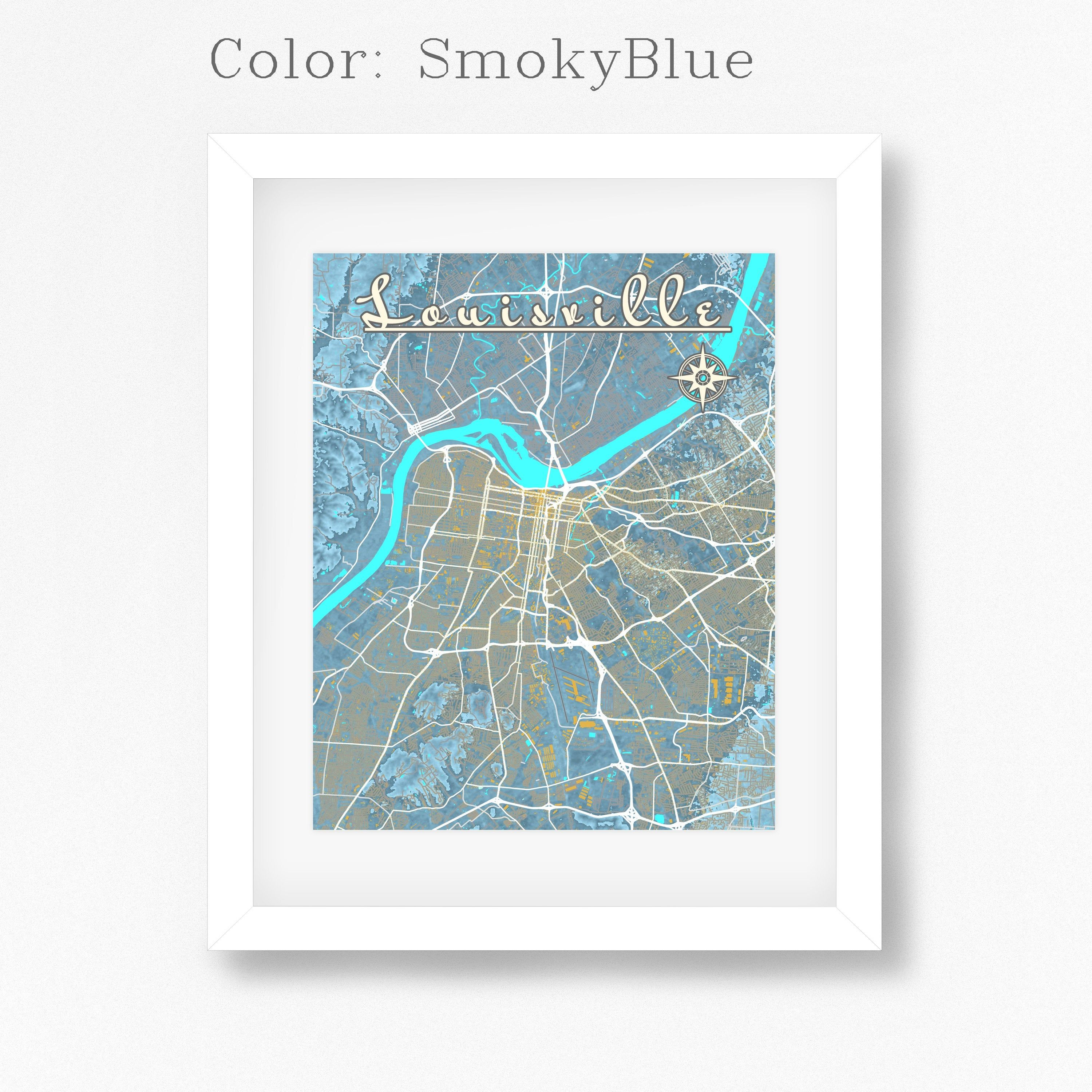 Louisville Kentucky Map with streets water hills buildings.   Etsy
