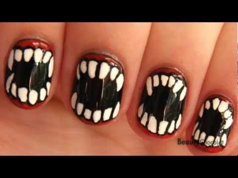 Halloween Fangs Nail Art For Short Nails Vampirewerewolf