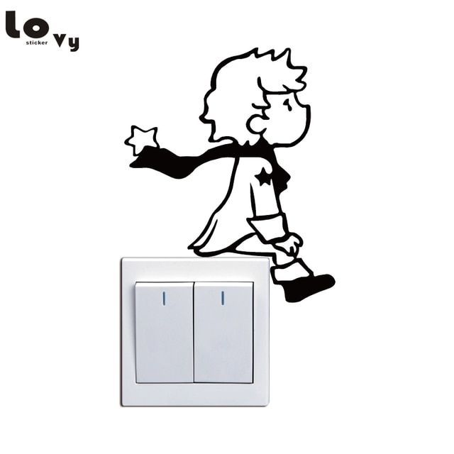 cute little prince switch sticker cartoon vinyl wall on wall stickers for hall id=76514