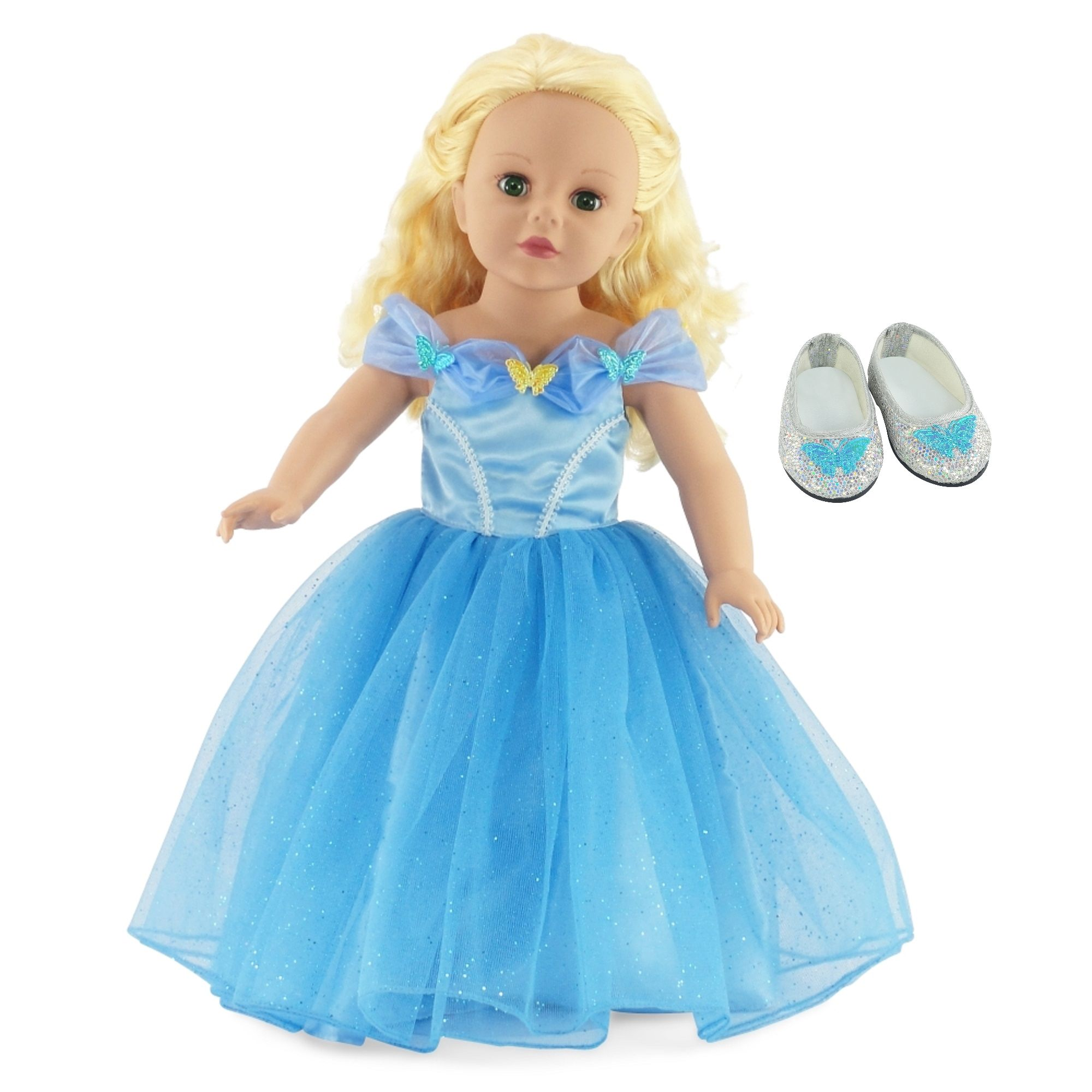 "fits  AMERICAN GIRL  AND MOST 18/"" DOLLS DOLL SHOES CINDERELLA SLIPPERS"