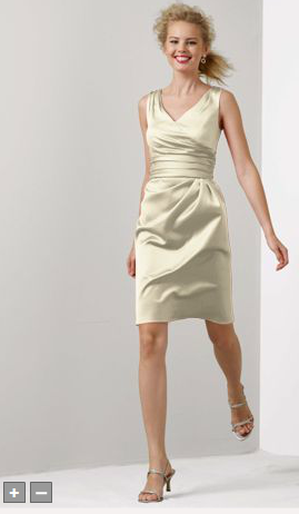 Short Sleevess Satin Dress with Ruched Waist Style F14823 David s     Short Sleevess Satin Dress with Ruched Waist Style F14823 David s Bridal  dress in Champagne