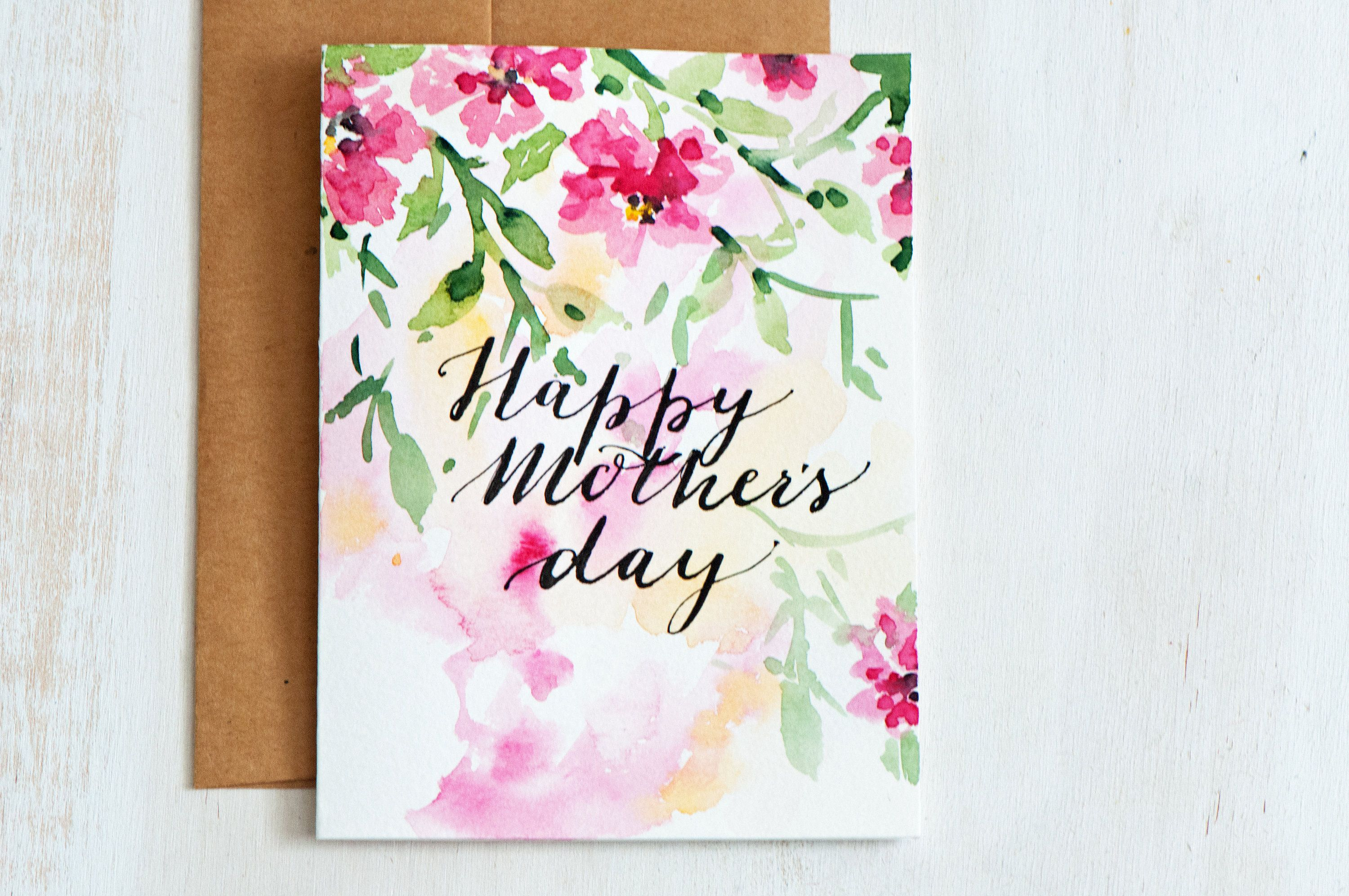 Mothers day card unique envelope linerhandpainted watercolor mothers day card unique hand painted watercolor cards hand lettered watercolor card mothers kristyandbryce Images
