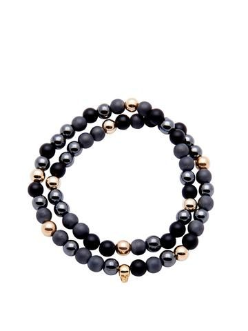 Men's 14K Gold Collection - Matte Onyx, Hematite, and Gold with Gold Skull
