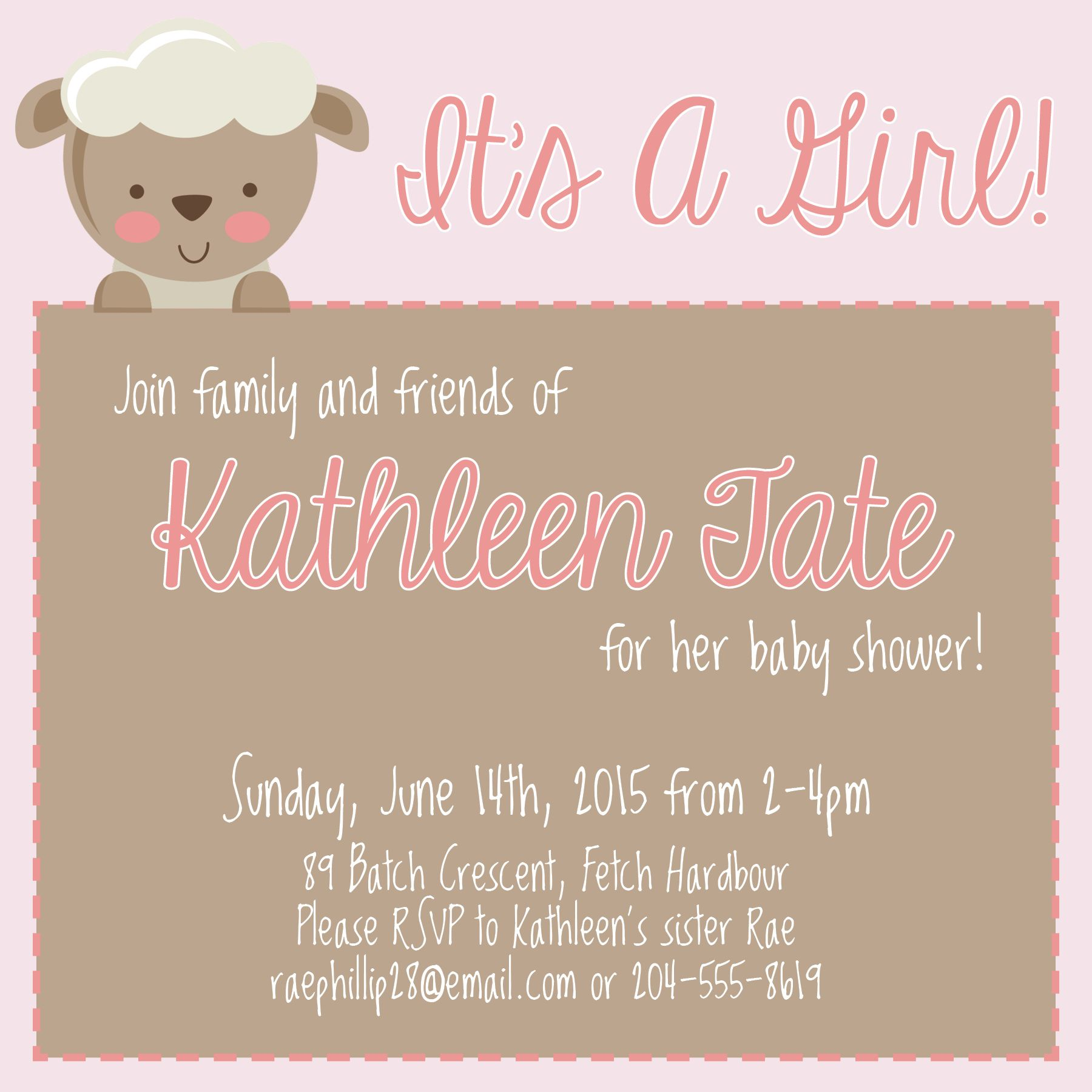Pink And Brown Little Lamb Baby Shower Invitation Baby Shower
