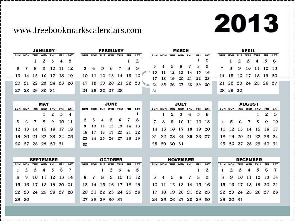 Calendars 2012 And 2013 Horizontal 2013 Calendar Template 3