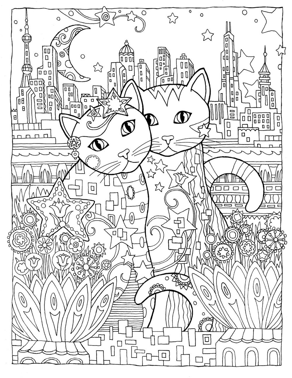 creative cats colouring book on the town by marjorie sarnat