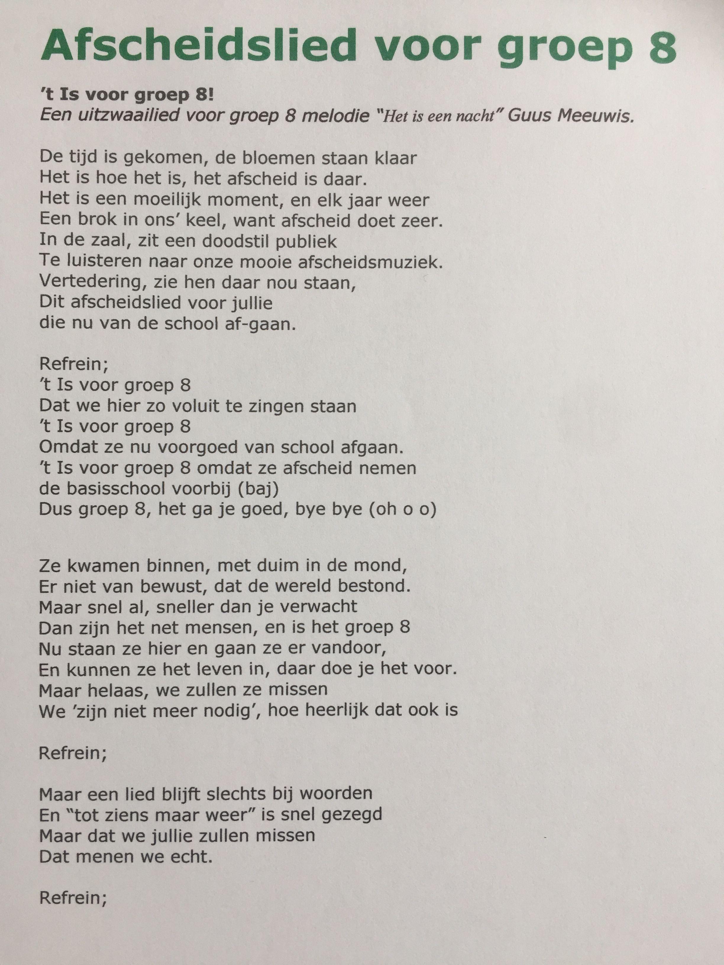 Hedendaags Afscheidslied melodie 't is een nacht' voor groep 8 van de MG-87