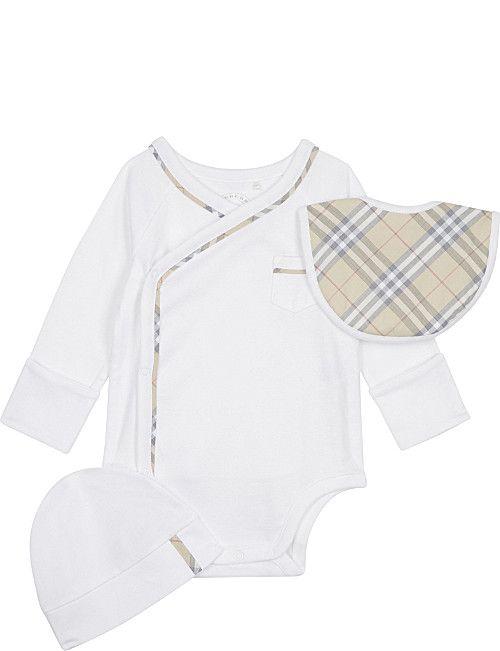 a82c76f45f1e5 BURBERRY Konner cotton three-piece baby set 1-6 months