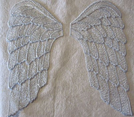 Sparkle SILVER on White large Wings SEW ON applique by TrimKo