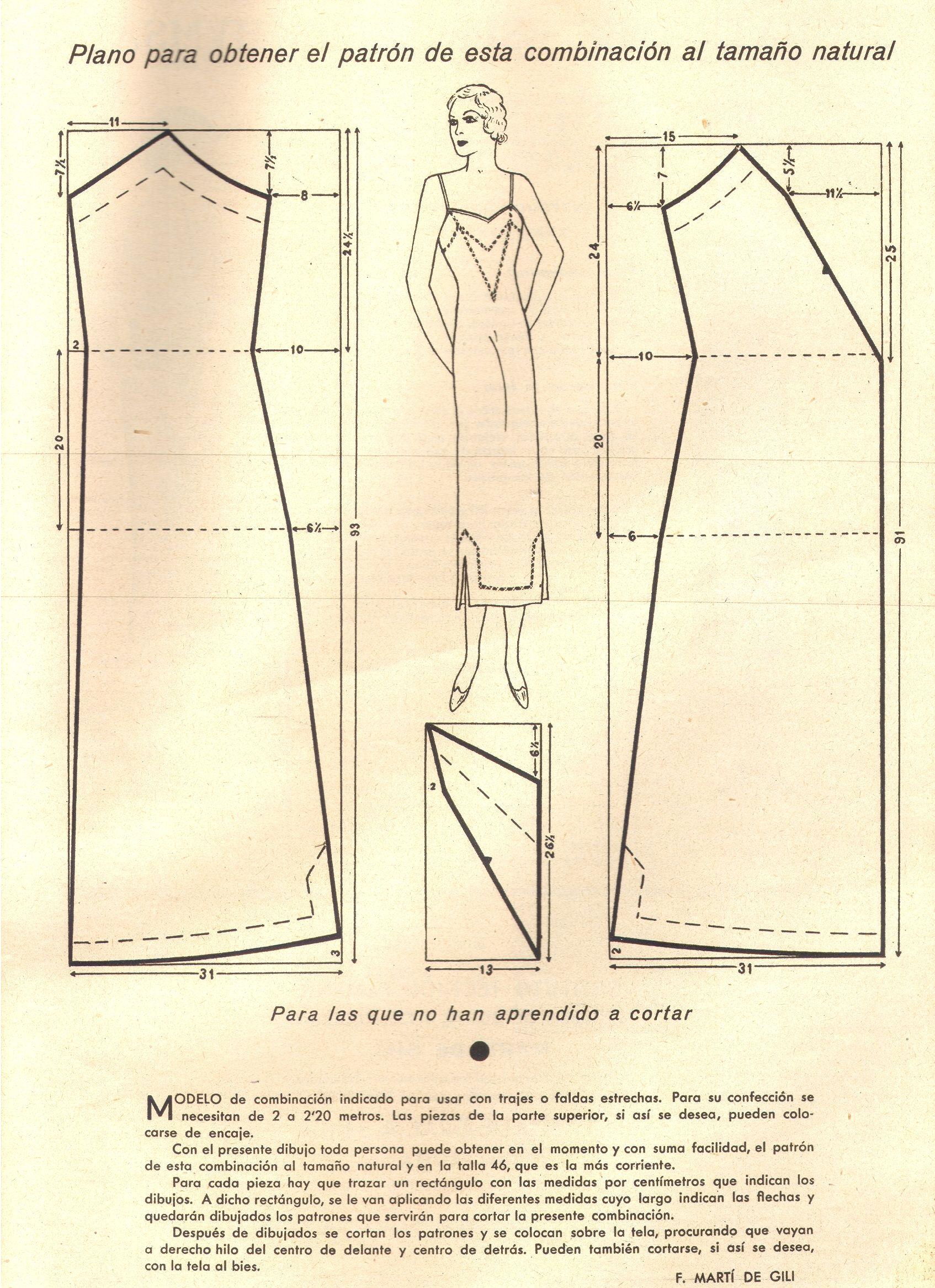 Lingerie 1935 | MODA | Pinterest | Patrones, Patrones faciles y ...