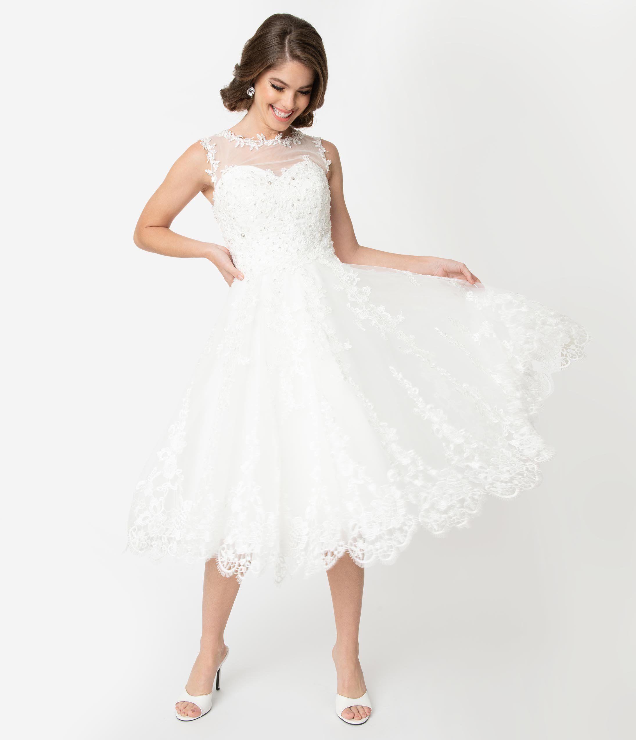 Unique Vintage 1950s Style Ivory Lace Tulle Riviera Bridal Dress Tea Length Wedding Dress Bridal Dresses Lace Wedding Dresses Unique
